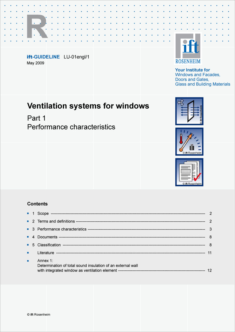 ift-Guideline LU-01engl/1 Ventilation systems for windows (printed version)
